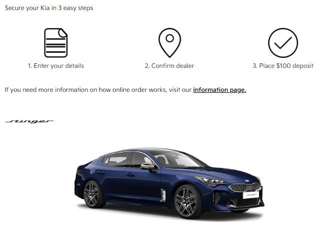 Kia website on-line car shopping